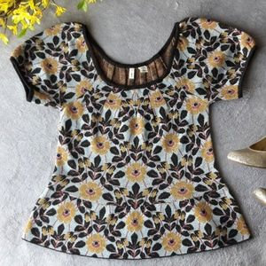 MOTH Yellow Floral Peplum Shirt Top